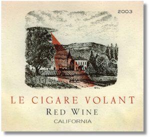 etiqueta de vino con motivo ufologico